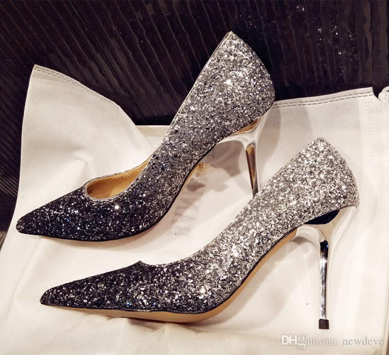 7ddb2841bd8dc5 Shiny Gradient Bridal Shoes Sliver Gold Red Wine Pointed Toe Wedding Shoes  Fashion Full Sequins High Heels Shoes For A Wedding Shoes For Beach Wedding  From ...