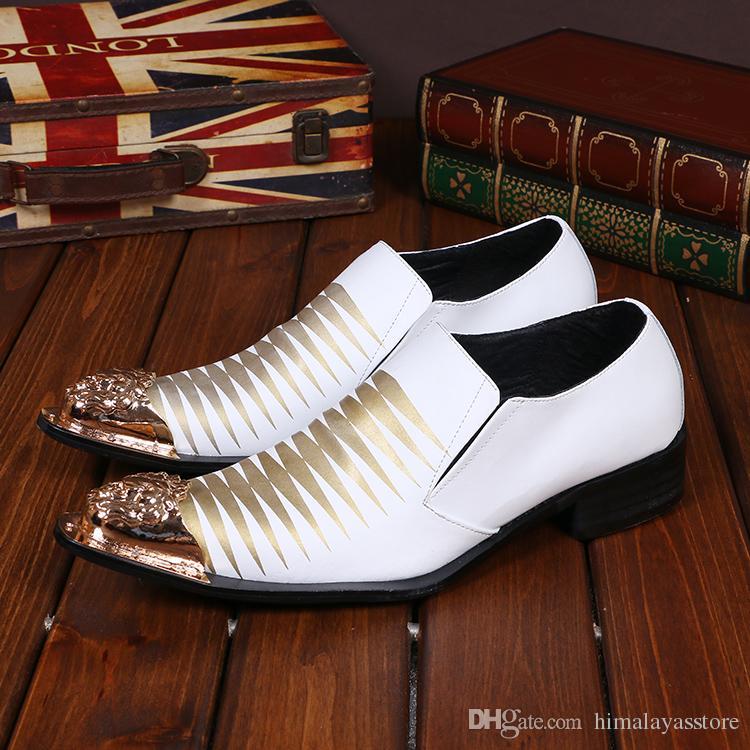 Scarpe da sera classiche da uomo in stile classico con tacco alto in vera pelle da uomo e da sposa