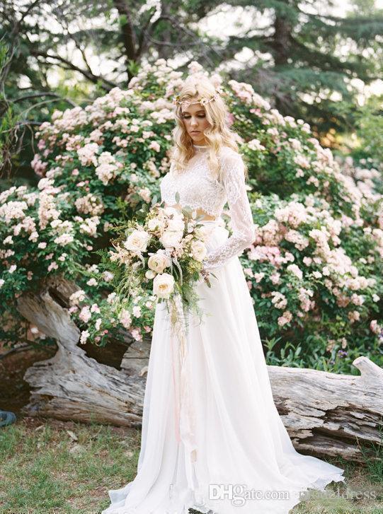 Romantische Country Bohemian Brautkleider 2018 Long Sleeves Zwei Stücke Top Lace Beach Brautkleider Kleid für Hochzeit Günstige Benutzerdefinierte