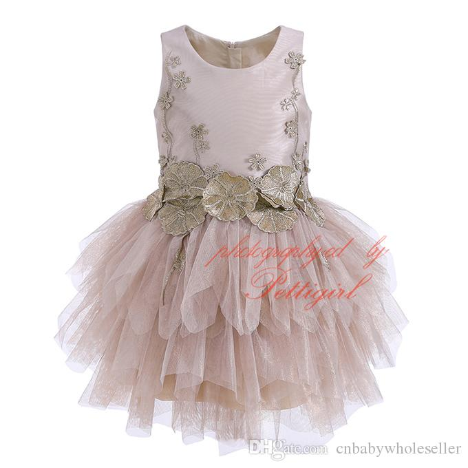 5f54e86fd Pettigirl Girl Ball Gown Dress Champagne Tulle Lotus Leaf Floral ...