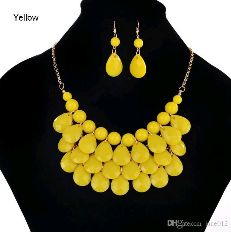 Fashion Floating Bubble Necklace Earrings Teardrop Bib Collar Statement Beach Jewelry sets for Women on Sale