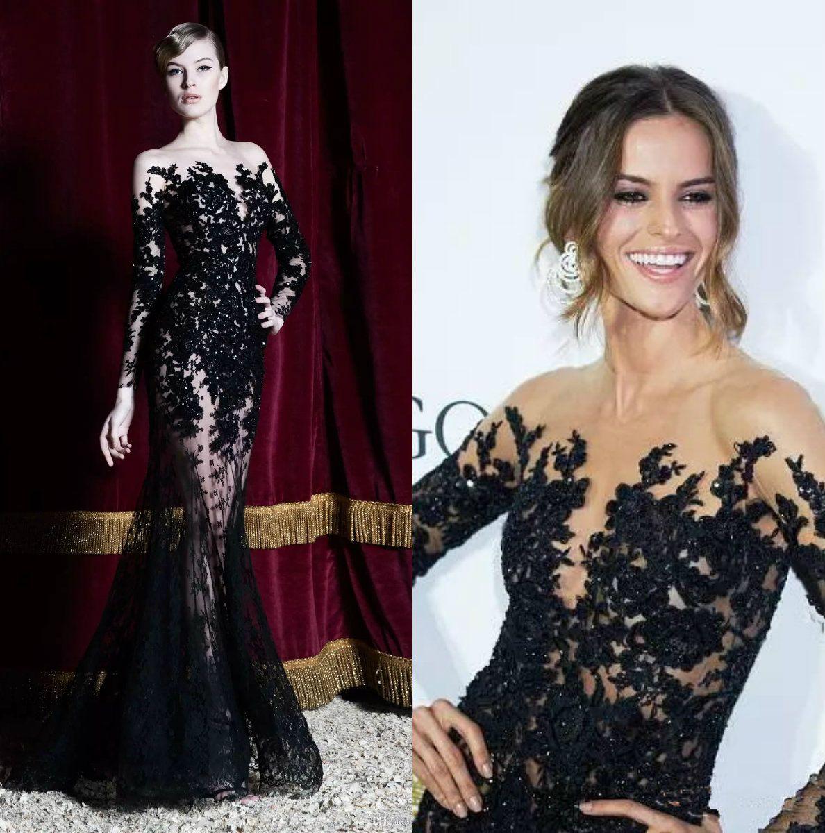 eccf557e1f8 Zuhair Murad Evening Dresses Long Sleeves Black Lace Sheer Mermaid Prom  Dresses Party Gowns Long Special Occasion Dubai Arabic Dresses Dress Shop  Formal ...