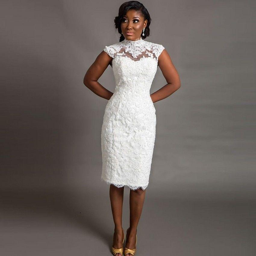 2016 Espartilho Pescoço Alto Rendas Vestidos de Casamento Do Vintage Sheer Neck Na Altura Do Joelho Vestido De Casamento Floral Apliques Cap Manga Vestido De Casamento Africano