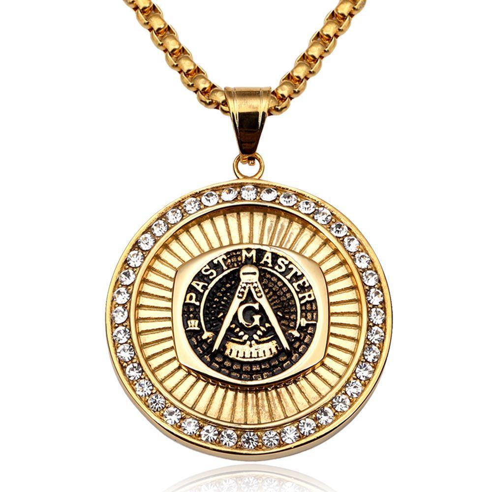 513567798f85 Compre Colgante Masónico Collar Hombres Hip Hop Joyería Chapado En ...