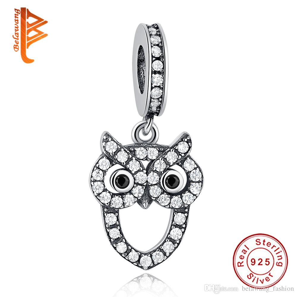 d19ce5e47 2018 Belawang For Women Animal Charm Beads 925 Sterling Silver Cubic  Zirconia Owl Shape Pendant Fit Pandora Bracelets&Necklace Diy Jewelry  Making From ...