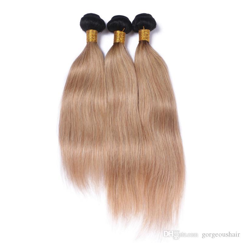 Neue Art Brown Blonde Ombre Malaysische Seidige Gerade Reine Haarverlängerungen Zwei Ton 1b / 27 Ombre Menschliche Haarwebart 3 Bündel Lo