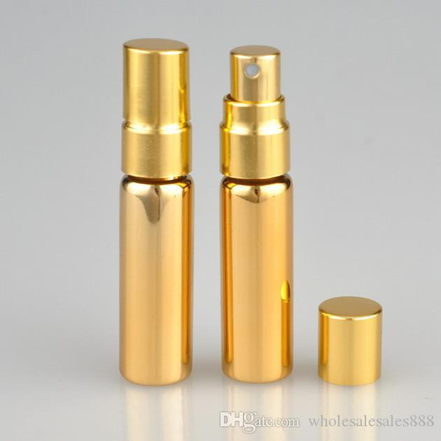 5ML UV Boş Cam Doldurulabilir Parfüm Şişesi Atomizer parfüm şişeleri Parfüm Şişesi altın gümüş rengi Sprey