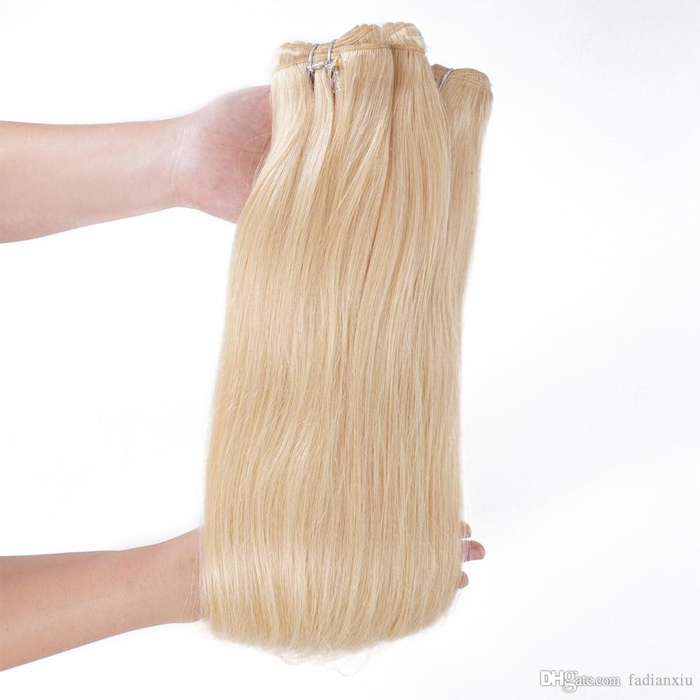 Silk Silky Straight Hair Extension Remy Human Hair Weave 613 Blonde