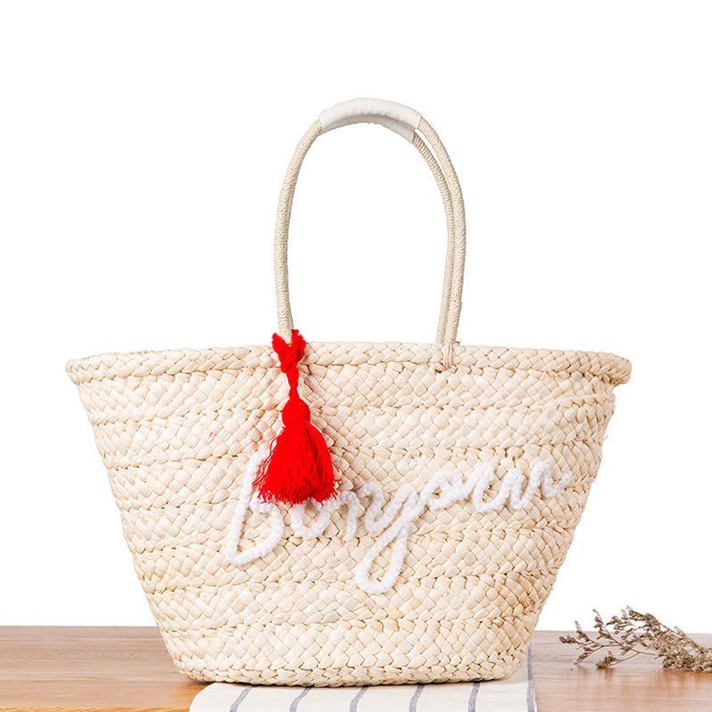Fashion Bohemian Knitted Straw Summer Beach Handbags Tassel Letter ... 8752a7b912a76