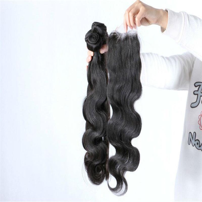 Peruanisches Körper-Wellen-Haar mit Verschluss Menschenhaar-Bündel mit Schließung, peruanisches gewelltes Haar mit Schließung Gesamtmenge
