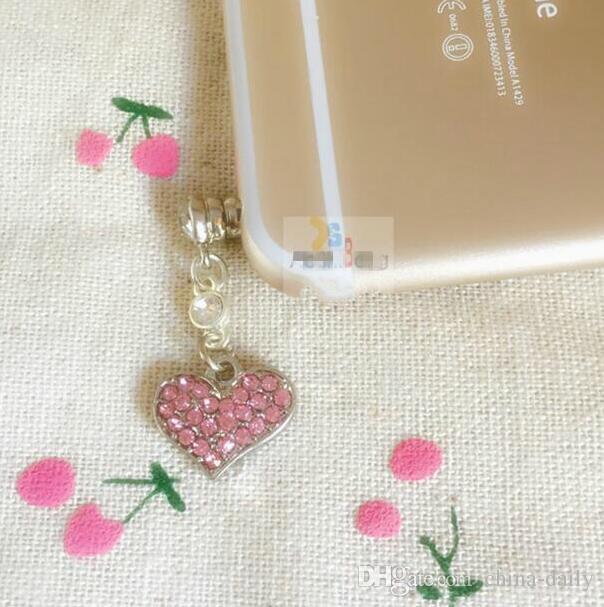 Free Ship  Crystal Heart 3.5mm Headset Jack Earphone Anti Dust Plug Dustproof Ear Cap for Cell Phone iPhone