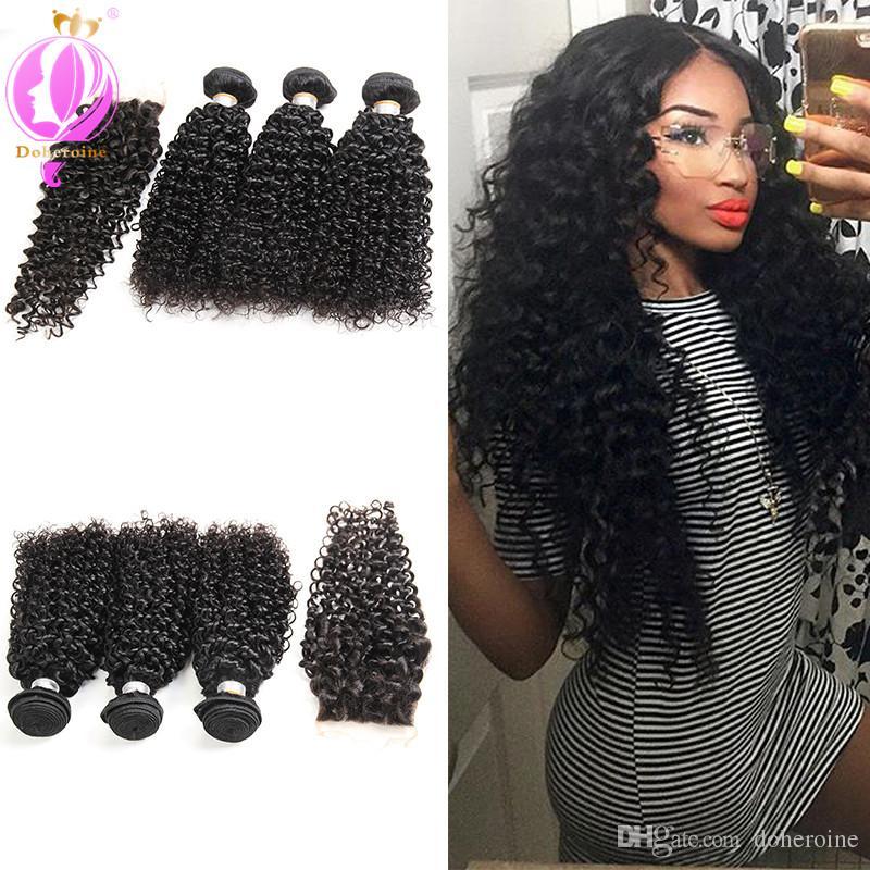 2018 Brazilian Kinky Curly Hair With Closure 3 Bundles Human Hair