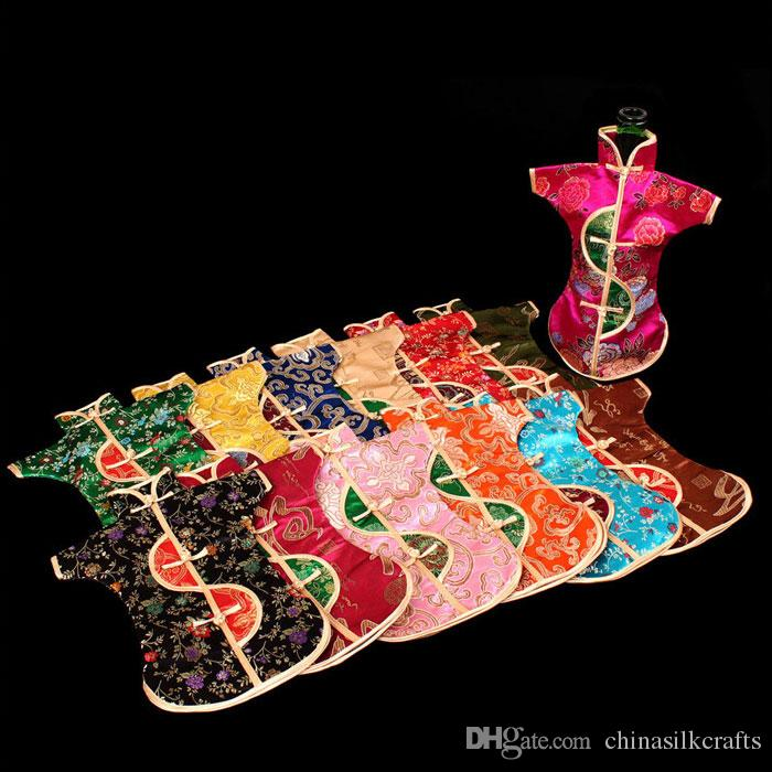 Unique Chinese Ethnic Craft Wine Bottle Cover Clothes Vintage Flower Silk Brocade Dust Bag Bottle Decor Bags Packaging Pouch