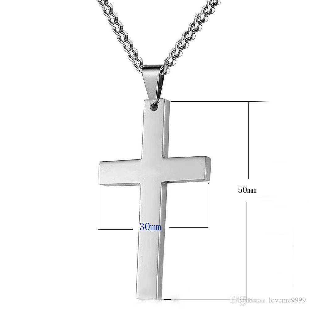 316L из нержавеющей стали Jesuss крест подвески ожерелье заявление ювелирные изделия 60 см кубинский звено цепи ожерелье