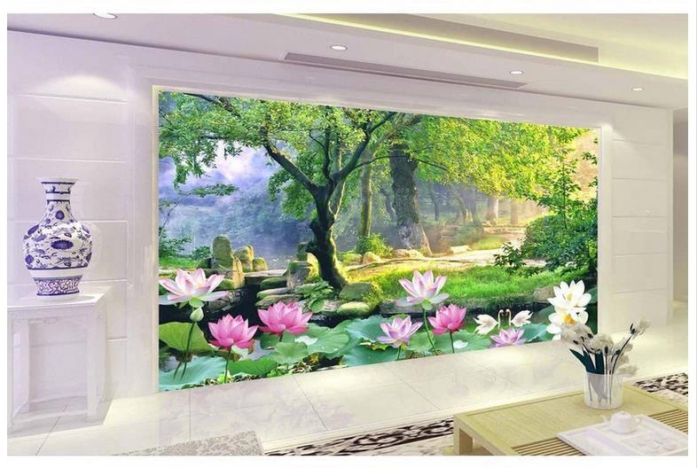 High-End-Custom 3d Fototapete Wandbilder Tapeten Lotus 3D TV Hintergrund 3d Wohnzimmer Tapete Hintergrund Wand Wohnkultur
