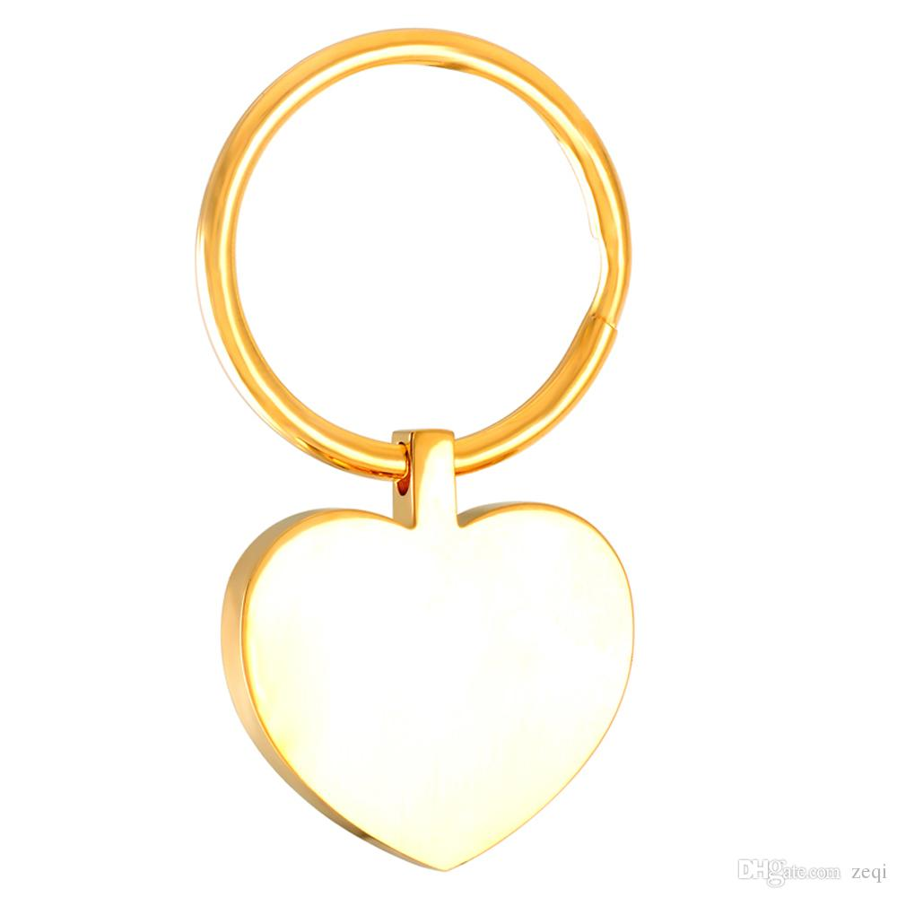 IJK0040 Heart Stainless Steel Blank Key Chain Funeral Engravable Key Ring