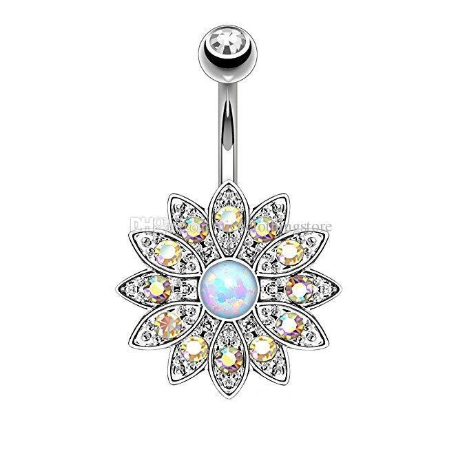 Blooming Daisy White Opal Belly Button Rings Gold Plated Surgical Steel 14G