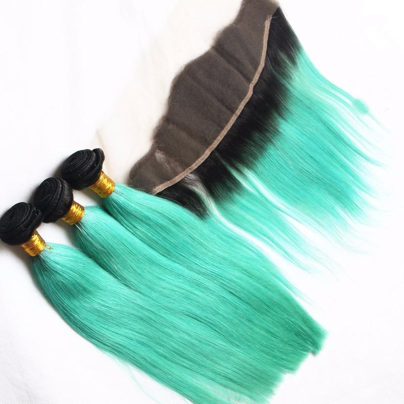Ombre Full Lace Frontal Bundles T1b Mint Green Two Tone Brazilian Straight Human Hair Weaves With Lace Frontal Ear To Ear 13*4