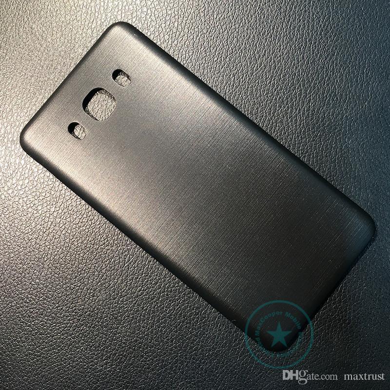 أعلى جودة لسامسونج غالاكسي J7 2016 J710 غطاء البطارية الخلفي الخلفي الإسكان الباب + شعار أبيض أسود ذهبي اللون