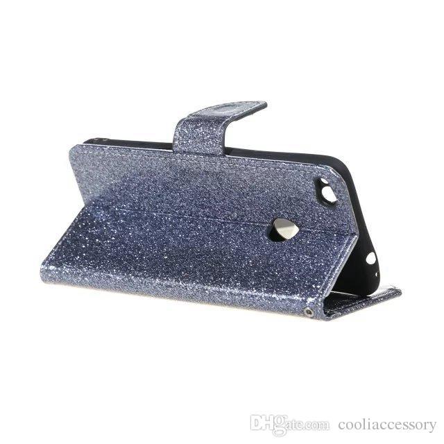 Glitter-Stern-Mappen-Leder-Beutel-Kasten für Samsung-Galaxie S8 S7 KANTE J3 Prime 2017 A3 A5 A7 J5 Iphone 7 Plus 6 6S Standplatz-TPU Karten-Haut-Abdeckung