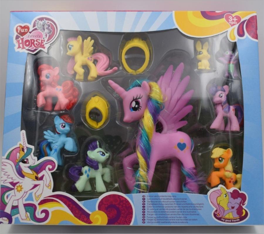 Schönes Set Sammlung Modell Spielzeug für Kinder Anime Cartoon schöne Regenbogen Pferd Prinzessin Luna PVC Poni