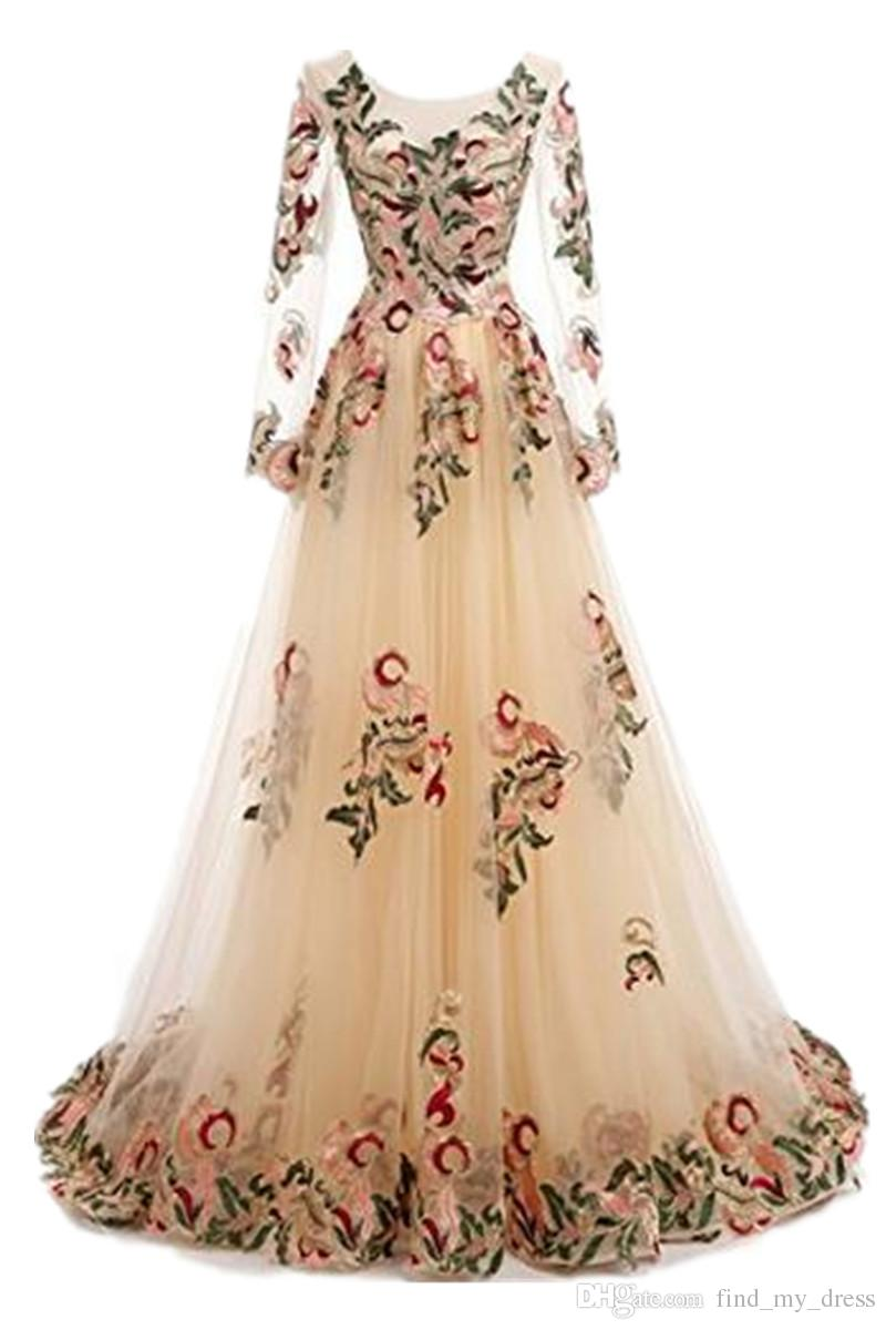 New Design Women Full Sleeve Colorful Evening Gowns A Line Tulle Embroidery Prom Party Dress Scoop Printed Fashion Custom Made Transparent