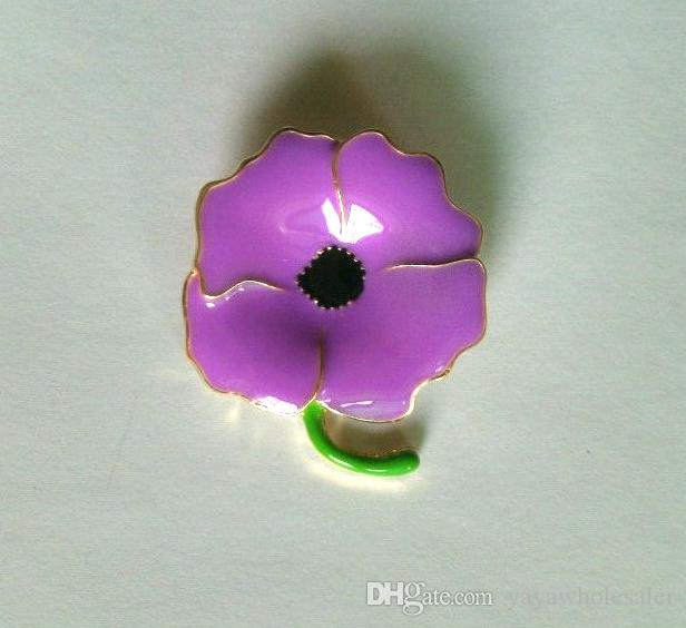 Wholesale Custom design Purple Enamel Poppy Brooches Pins For Hero Remembrance day gifts Badge Gifts 2.8*2.8CM Hot Selling In Stock