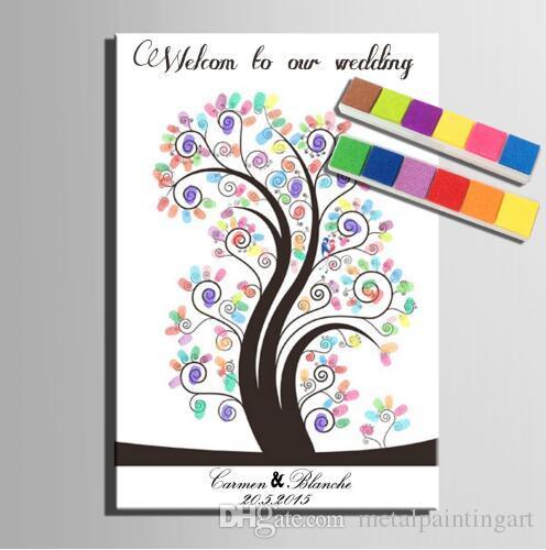 Willkommen zu unserer Hochzeit Fingerprint Baum Hochzeit Gästebuch Leinwand Malerei mit 12 Farben Inkpads für Hochzeitsdekoration