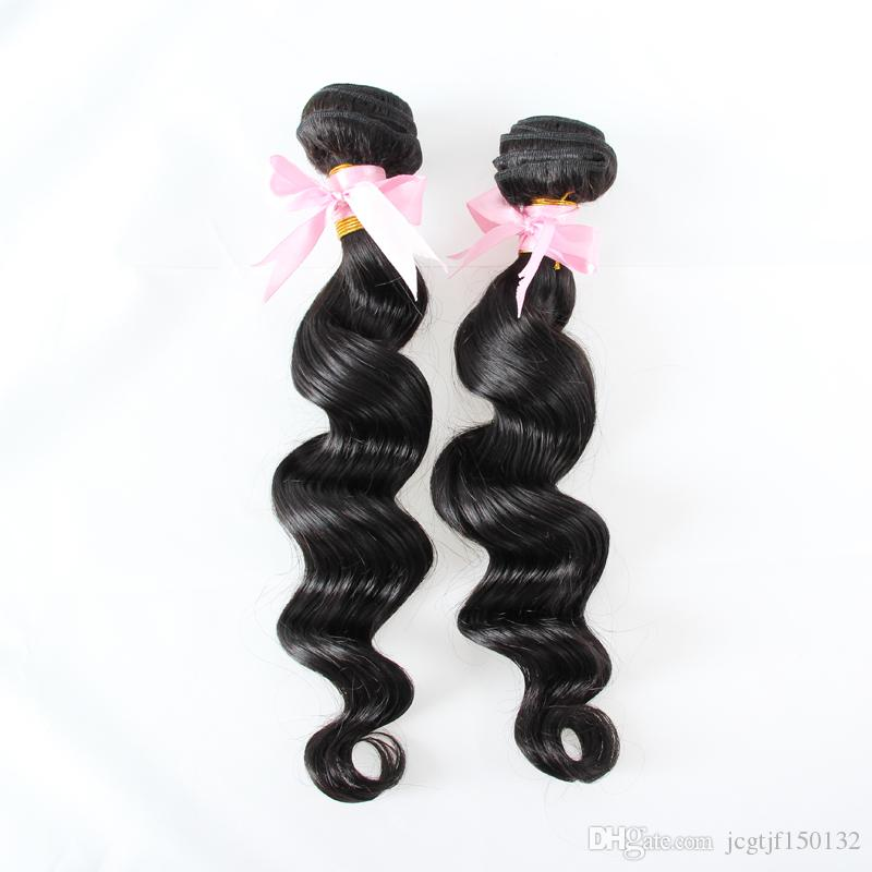 Brazilian hair weave bundles Loose wave bundles 200g Human Hair Extensions Natural Black