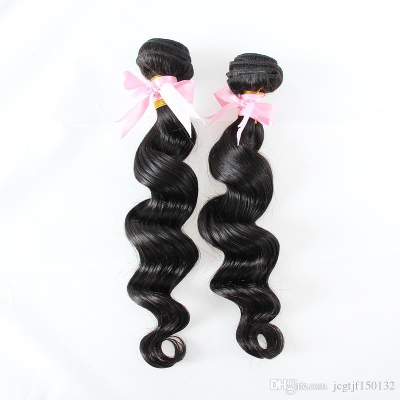 Feixes de tecelagem de cabelo brasileiro Pacotes de onda solta 200g Extensões de cabelo humano Preto Natural 2 Peça