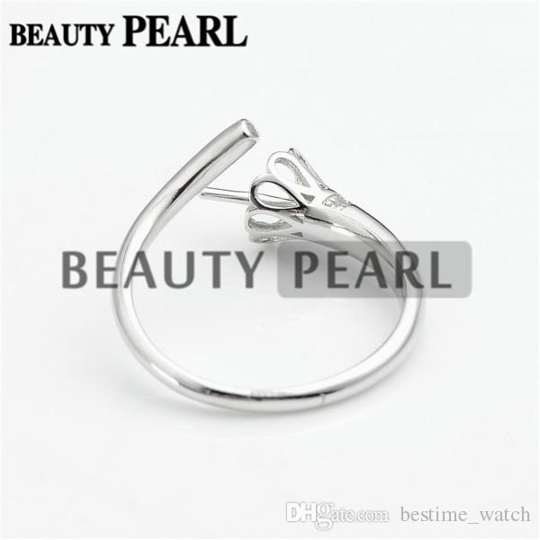 HOPEARL Jewelry Ring Blanks Pearl Mounting 925 Sterling Silver DIY Jewellery Making Ring Base