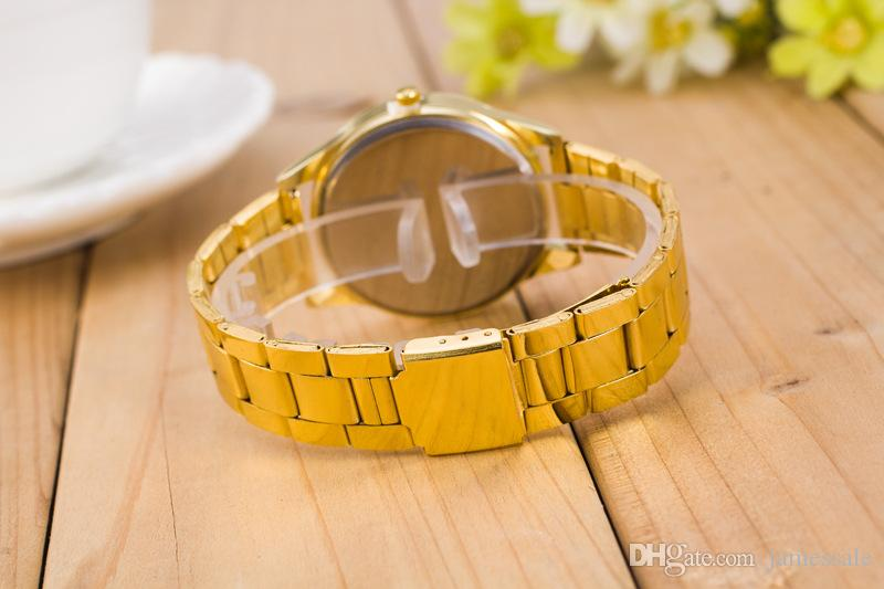 Geneva Hot style and sell tong steel band watches the new trend Fashion Roman Geneva steel belt scale quartz table