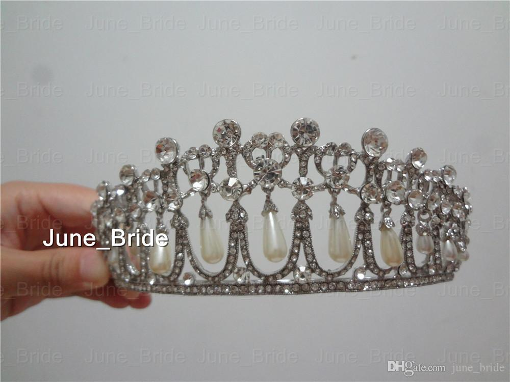 Real Photo Crystal Crown Princess Diana Pearl Tiara Bridal Jewelry Wedding Accessories High Quality Classic Vintage Pageant Queen Headpieces