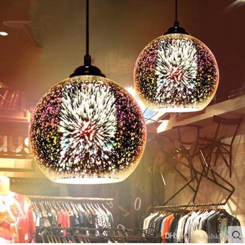 Classic design LED lamp pendant light diameter 20cm 3D colorful Plated Glass Mirror Ball hanging light fixture