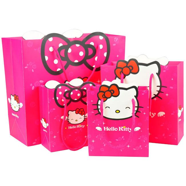 4a0f6037dec1 Wholesale 3 Size Gift Bag Hello Kitty Cartoon Packing Environmental Safety  Paper Bag Package For Girls Kid Handbag Present Cheap Designer Handbags  Reusable ...