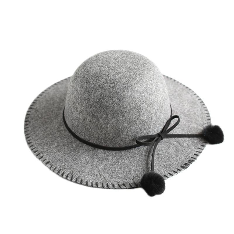 850c1492509e3 Compre Lindo Sombrero De Fedora Para Niños Sombrero De Copa Vintage Sombrero  Trilby Con Pompom Niñas Sombreros De Invierno Otoño Sombreros De Ala Ancha  ...
