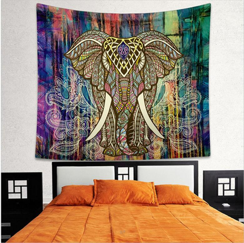 Indian Mandala Tapestry Hippie Wall Hanging Elephant