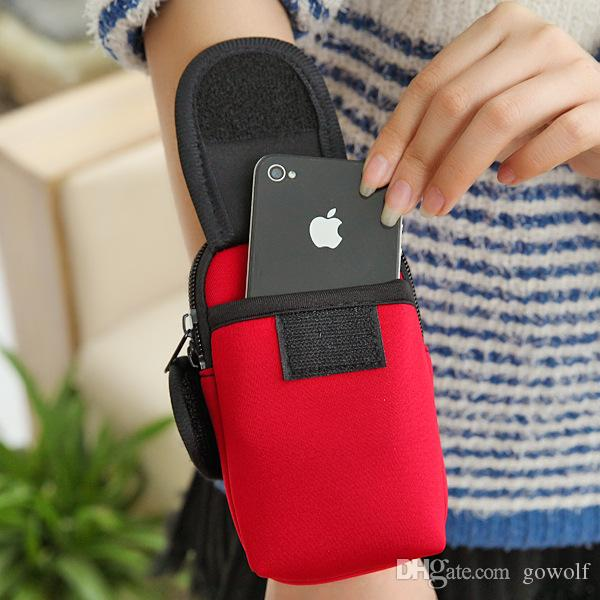 Cheap Armband Cycling Sports Running Wrist Pouch Mobile Cell Phone Arm Band Pink Bags Case Handbag Wallet Double Zip For iphone 5 6