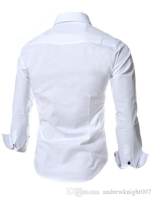 Новая весна Мужские рубашки с длинными рукавами бизнес случайные шить твердые прибытия платье высокое качество фитнес Бесплатная доставка