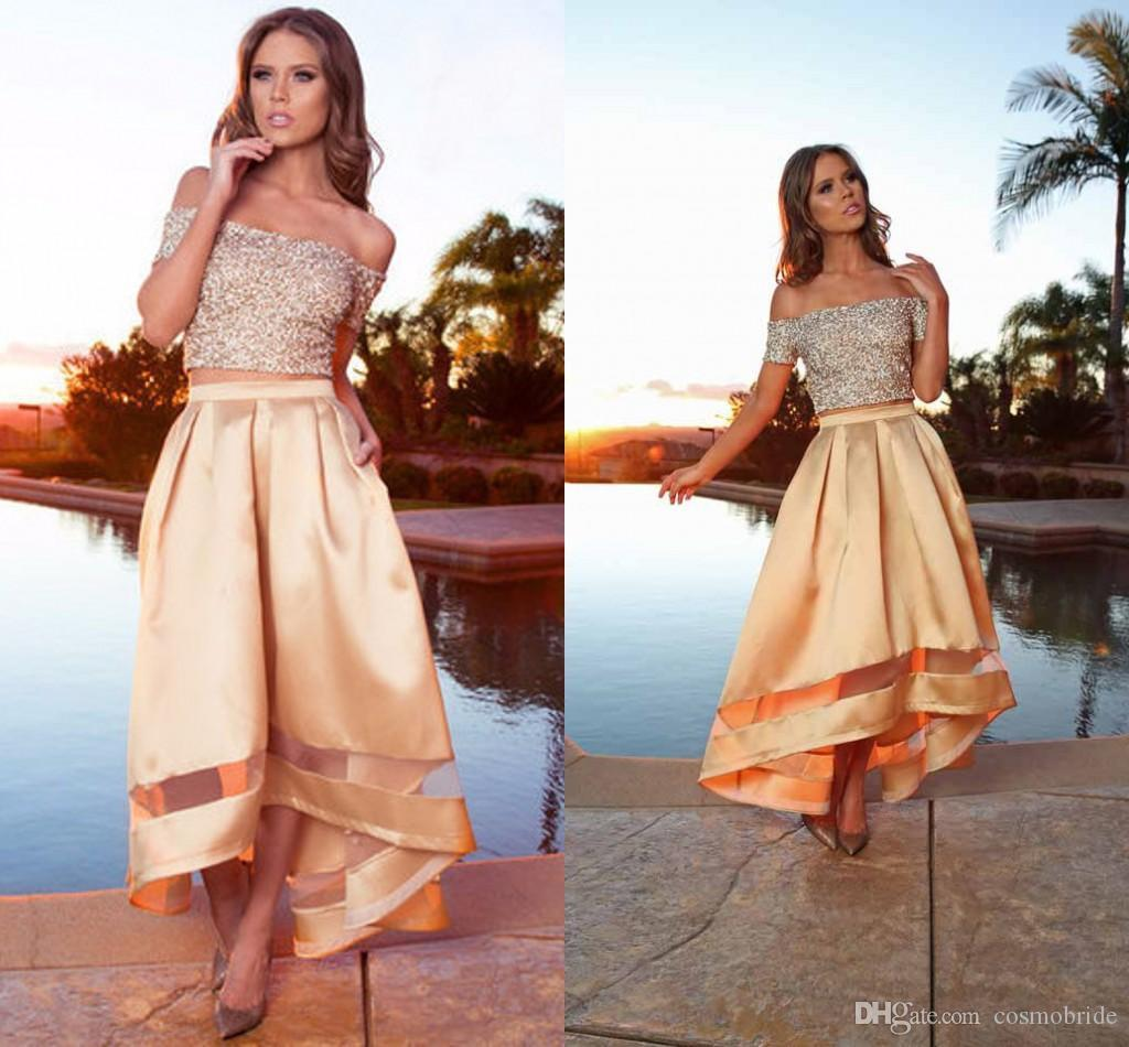 Two Pieces Prom Dresses Long Sequin Off Shoulder Short Sleeve High