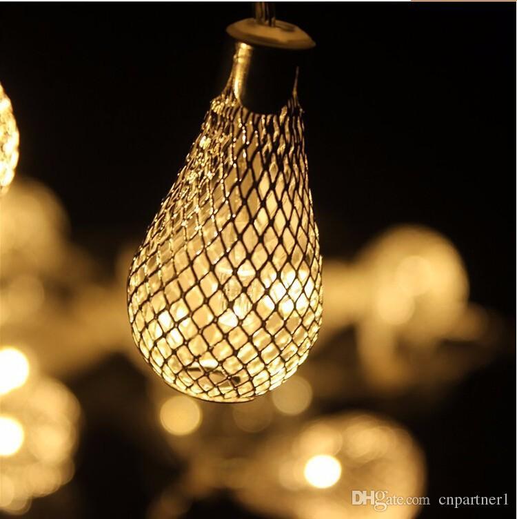 20ledUS EU metal string light led bulbs 110v 220v golden drip lights 3w led strings for decoration wedding christmas party holiday light