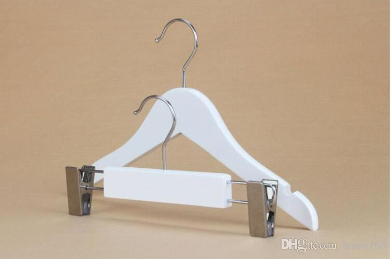 White Solid Wood Hanger for Children Baby Infant Clothes Wooden Rack with Clip for Shirt Pants 26-35cm Closet Home Office Shop Hanger