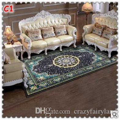 3D Printed European Modern Household Customize Anti Slip Carpets Sitting Room Bedroom Tea Table Rugs Luxury Retro Rectangular Mats