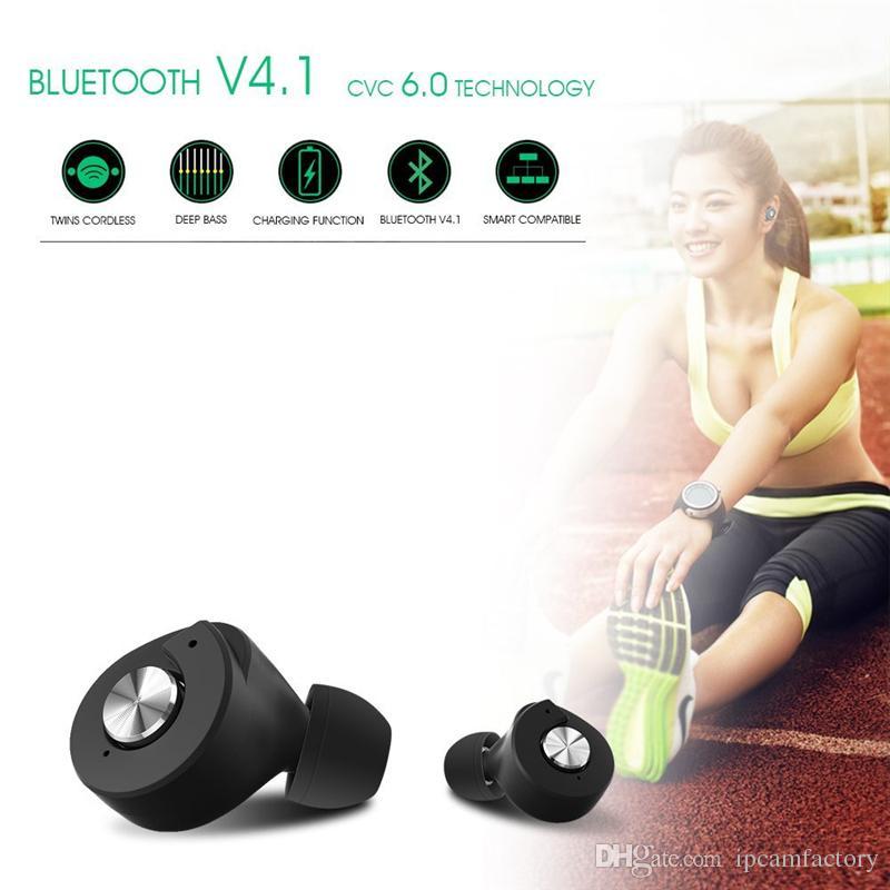 Auricolari Bluetooth TWS T8 Mini Invisible True Wireless V4.1 Gemelli Auricolari Double In Ear con Smart Charging Box Stereo Hands Free Auricolare