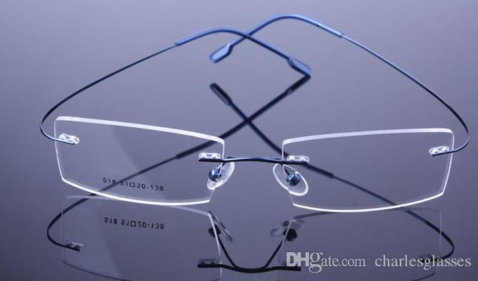 nicht-schraube randlose optische gläser rahmen speicher titanium brillen für rezept viele farben 518