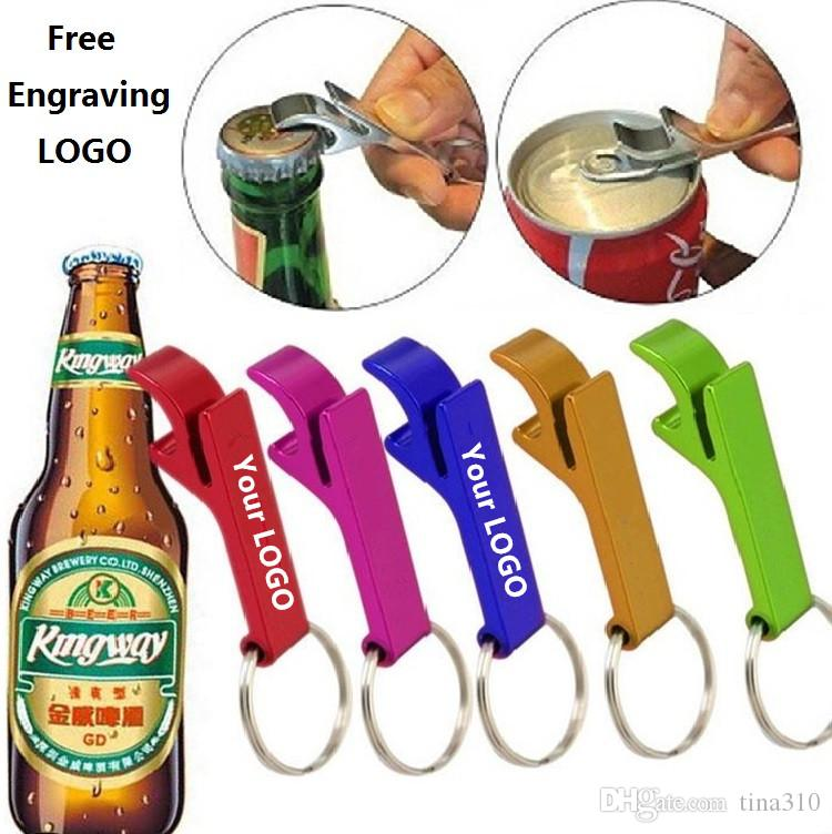 New 200pcs key chain metal aluminum alloy keychain ring beer bottle opener Openers Tool Gear Beverage custom personalized pay extra