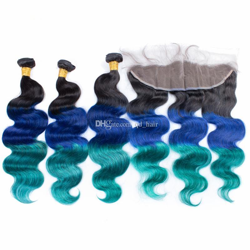 Ombre 1b синий зеленый волос уток расширение с уха до уха фронтальной три тона девственницы человеческого тела волна волос 3Bundles с кружевом фронтальной