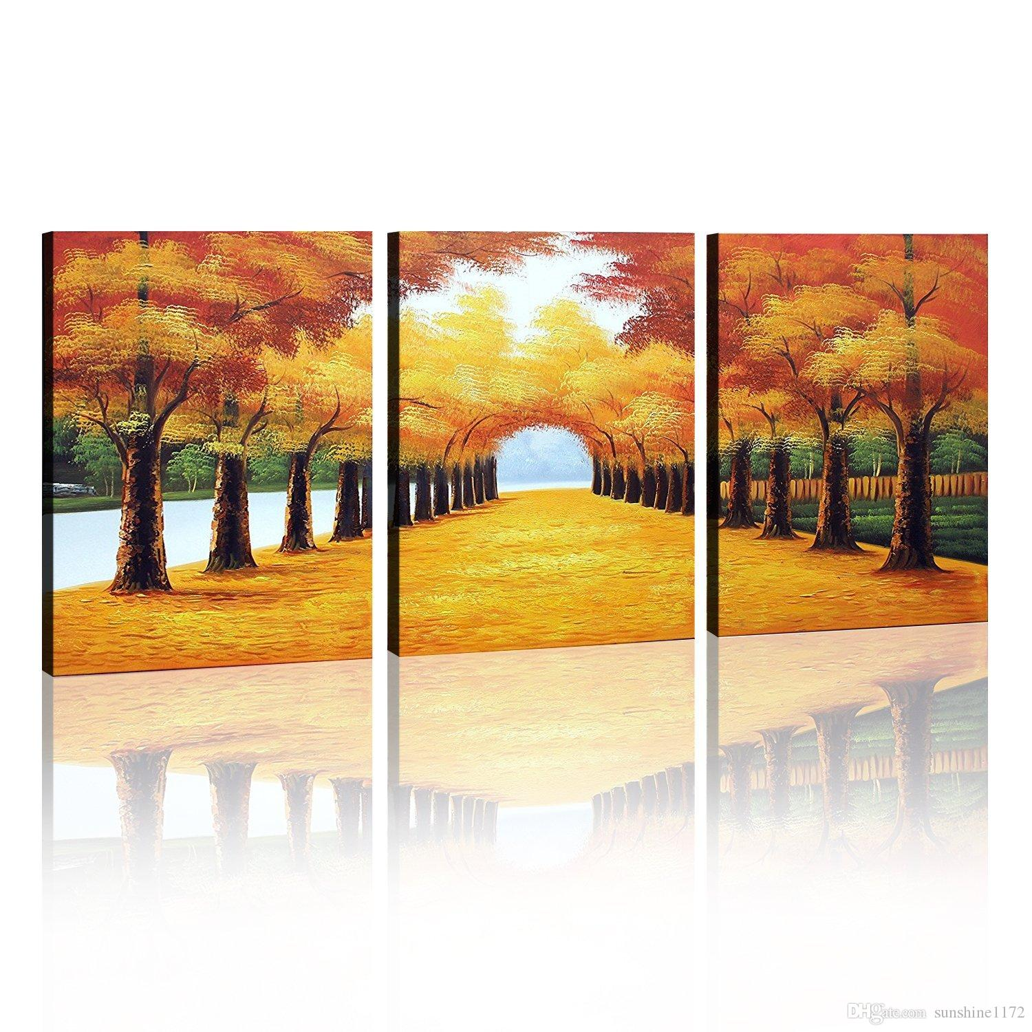 2018 100% Handmade Oil Painting Wall Art Decoration Deciduous Leaves ...