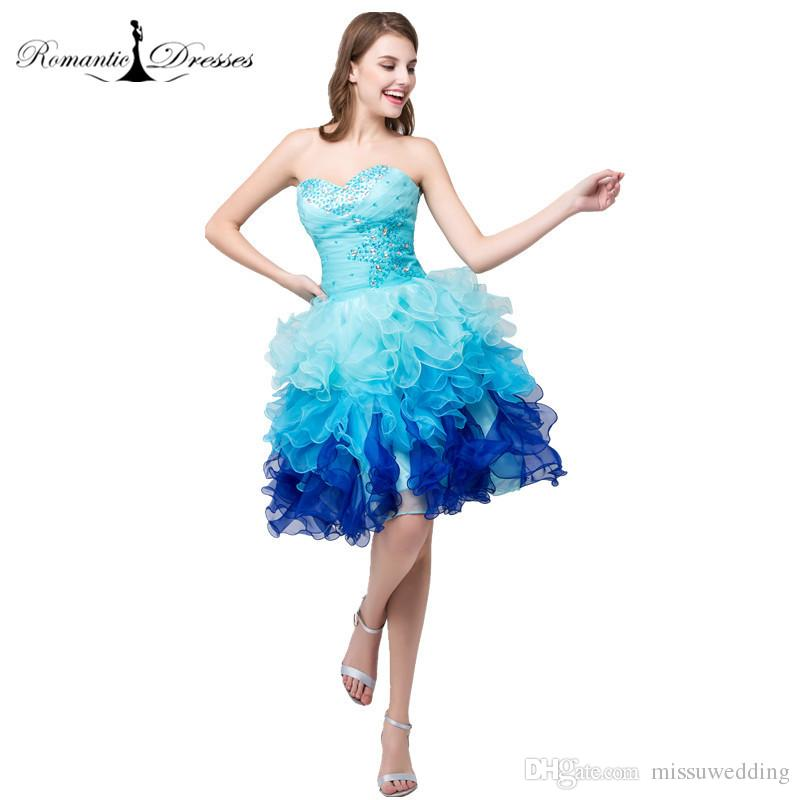 Blue Organza Short Prom Dresses Romantic Dresses Ruffles Beaded Mini ...
