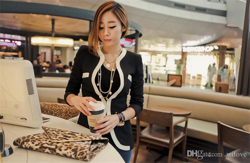 Vestito casuale Vestito di cappotto del vestito delle donne di modo Vestidos Vestiti da lavoro OL di Casual Vestiti delle signore coreane bianche Blazers di vestito neri casuali